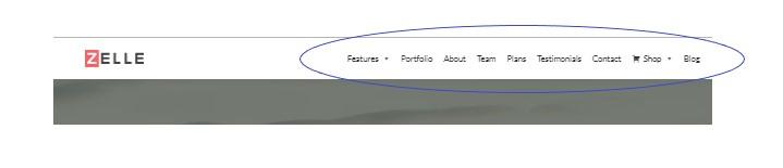 Menú superior de navegación por una página web